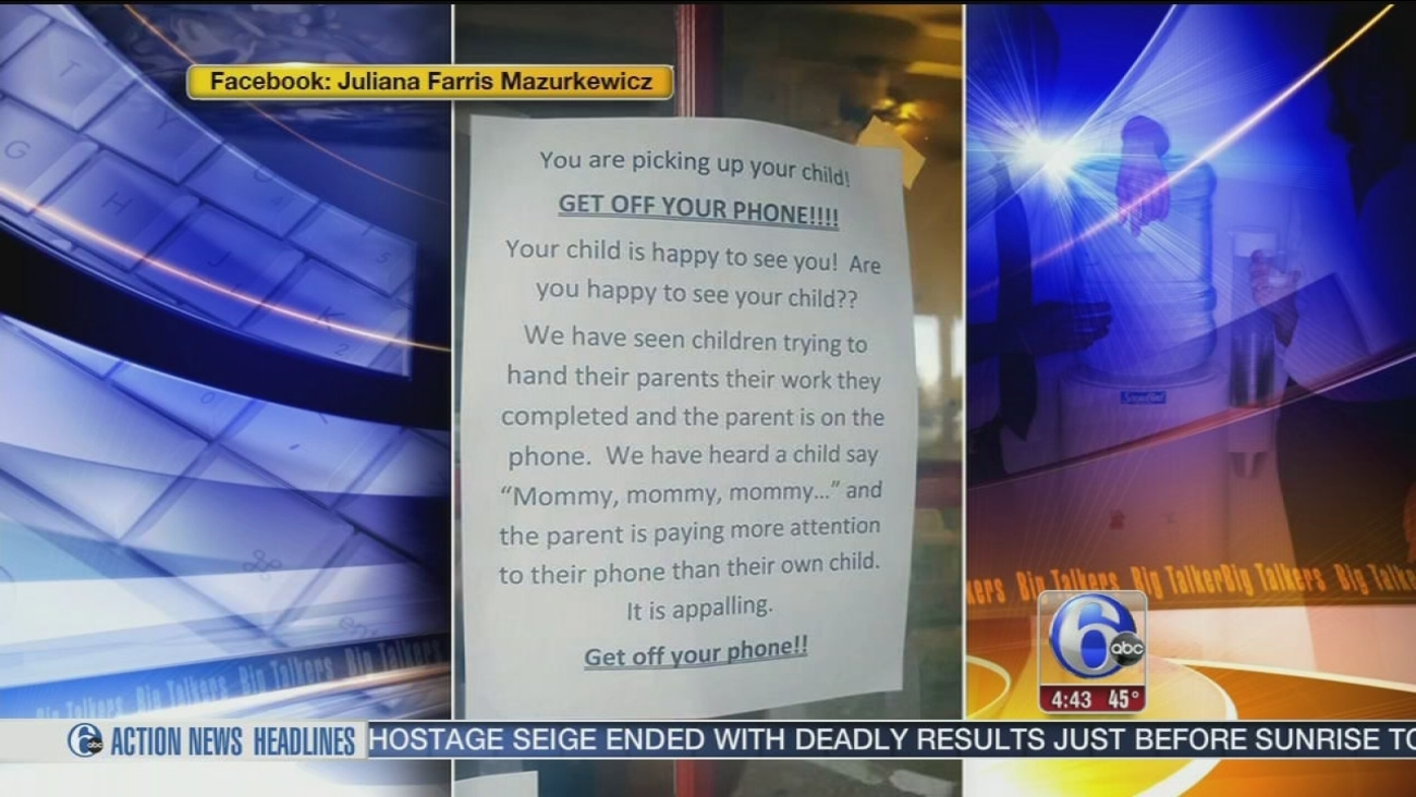 get off your phone daycare touches nerves with cellphone sign