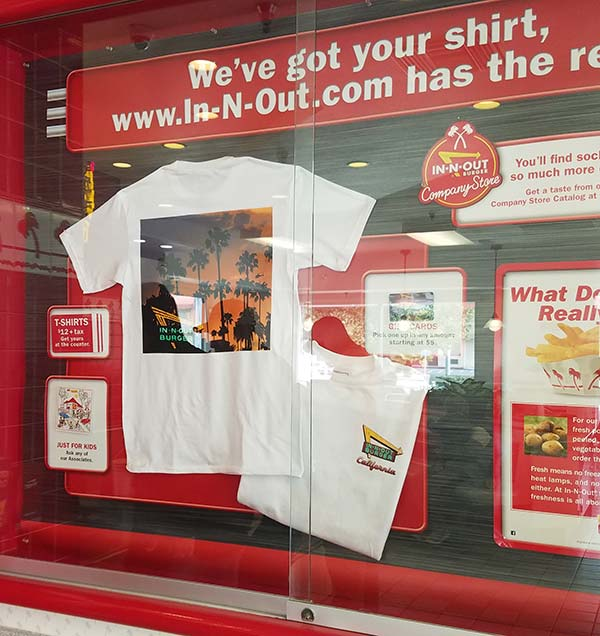 In-N-Out has great stylish t-shirts that reflect Southern California's style - you'll want to buy them all!