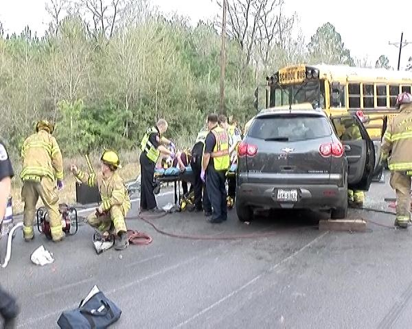 <div class='meta'><div class='origin-logo' data-origin='KTRK'></div><span class='caption-text' data-credit=''>The Conroe ISD school bus collided with an SUV in Conroe Thursday afternoon, school officials confirmed.</span></div>
