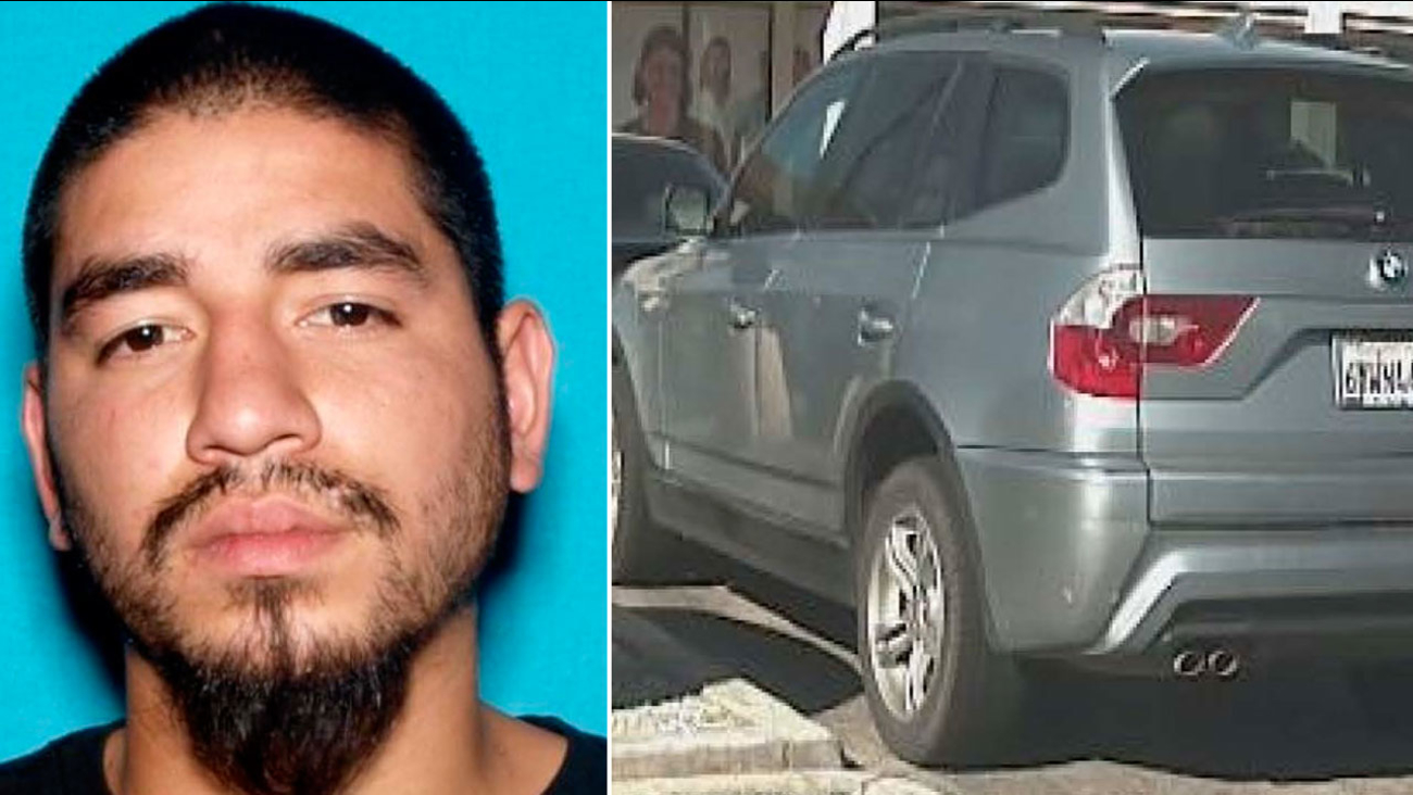 Mario Jose Estrada, 23, seen in an undated photo. Alongside is a photo of a BMW SUV sheriff's officials believe he is driving.