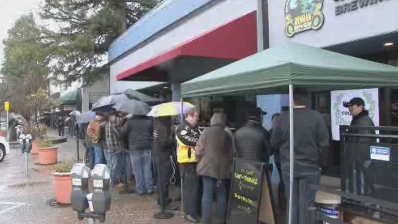 Line for Pliny the Younger IPA at Russian River Brewing Company, Santa Rosa, California, Friday, December 3, 2017.