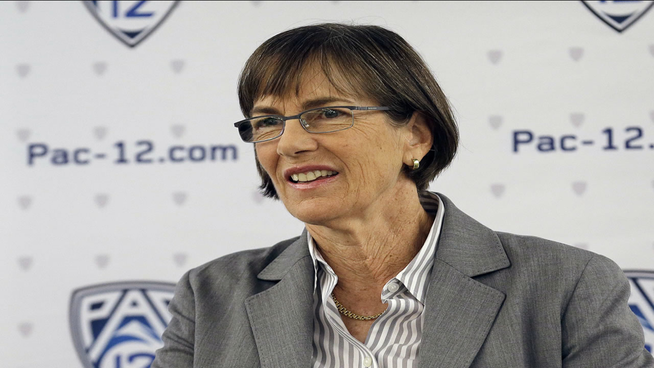 Stanford head coach Tara VanDerveer smiles while speaking during NCAA college basketball Pac-12 media day in San Francisco, Thursday, Oct. 20, 2016.