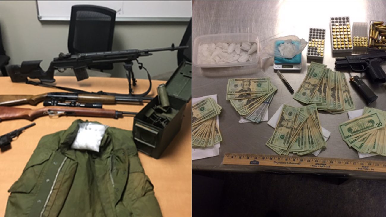 Photos show money, weapons and drugs found after a months-long drug bust operation throughout the High Desert area.