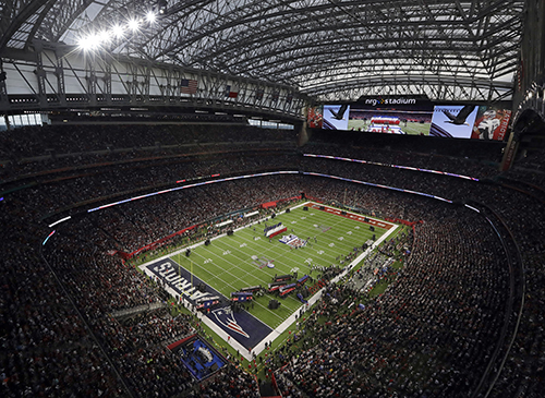 """<div class=""""meta image-caption""""><div class=""""origin-logo origin-image ap""""><span>AP</span></div><span class=""""caption-text"""">""""America the Beautiful"""" is sung before the NFL Super Bowl 51 football game between the New England Patriots and the Atlanta Falcons Sunday, Feb. 5, 2017, in Houston. (AP Photo/Morry Gash)</span></div>"""