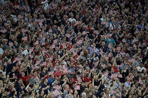 """<div class=""""meta image-caption""""><div class=""""origin-logo origin-image ap""""><span>AP</span></div><span class=""""caption-text"""">Fans cheer during the national anthem before the NFL Super Bowl 51 football game between the Atlanta Falcons and the New England Patriots Sunday, Feb. 5, 2017, in Houston. (AP Photo/Jae C. Hong)</span></div>"""