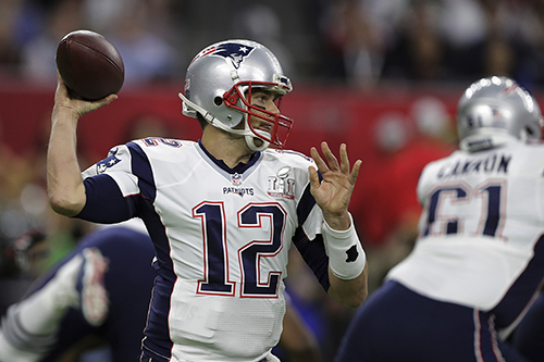 <div class='meta'><div class='origin-logo' data-origin='AP'></div><span class='caption-text' data-credit='AP'>New England Patriots' Tom Brady looks to pass, during the first half of the NFL Super Bowl 51 football game against the Atlanta Falcons, Sunday, Feb. 5, 2017, in Houston.</span></div>