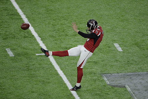 <div class='meta'><div class='origin-logo' data-origin='AP'></div><span class='caption-text' data-credit='AP'>Atlanta Falcons' Matt Bosher punts during the first half of the NFL Super Bowl 51 football game against the New England Patriots Sunday, Feb. 5, 2017, in Houston.</span></div>