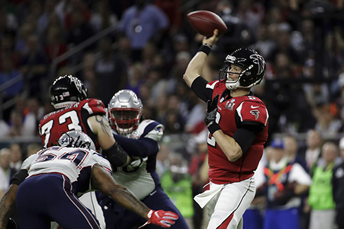 <div class='meta'><div class='origin-logo' data-origin='AP'></div><span class='caption-text' data-credit='AP'>Atlanta Falcons' Matt Ryan looks to pass during the first half of the NFL Super Bowl 51 football game against the New England Patriots, Sunday, Feb. 5, 2017, in Houston.</span></div>