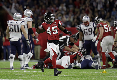 <div class='meta'><div class='origin-logo' data-origin='AP'></div><span class='caption-text' data-credit='AP'>Atlanta Falcons' Deion Jones (45) celebrates after Robert Alford recovers a fumble during the first half of the NFL Super Bowl 51 football game against the New England Patriots.</span></div>