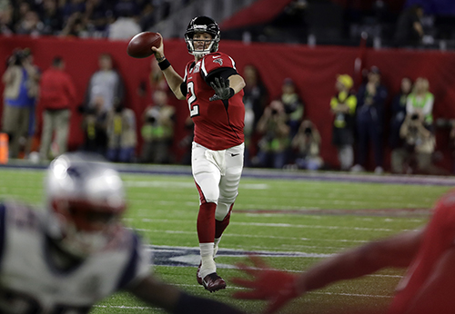 <div class='meta'><div class='origin-logo' data-origin='AP'></div><span class='caption-text' data-credit='AP'>Atlanta Falcons' Matt Ryan throws a pass during the first half of the NFL Super Bowl 51 football game against the New England Patriots Sunday, Feb. 5, 2017, in Houston.</span></div>