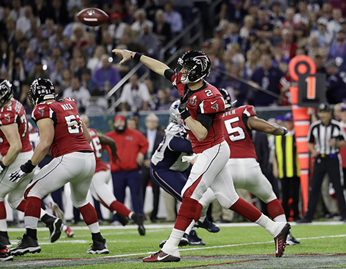 <div class='meta'><div class='origin-logo' data-origin='AP'></div><span class='caption-text' data-credit='AP'>Atlanta Falcons' Matt Ryan throws against the New England Patriots during the first half of the NFL Super Bowl 51 football game Sunday, Feb. 5, 2017, in Houston.</span></div>