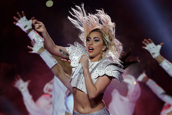 <div class='meta'><div class='origin-logo' data-origin='none'></div><span class='caption-text' data-credit='Matt Slocum/AP'>Singer Lady Gaga performs during the halftime show of the NFL Super Bowl 51 football game between the New England Patriots and the Atlanta Falcons, Sunday, Feb. 5, 2017, in Houston</span></div>