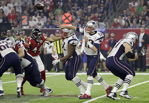 <div class='meta'><div class='origin-logo' data-origin='AP'></div><span class='caption-text' data-credit='AP'>New England Patriots' Tom Brady passes against the Atlanta Falcons during the second half of the NFL Super Bowl 51 football game Sunday, Feb. 5, 2017, in Houston.</span></div>