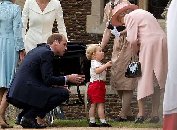 "<div class=""meta image-caption""><div class=""origin-logo origin-image none""><span>none</span></div><span class=""caption-text"">Queen Elizabeth II speaks to Prince George as his father Prince William looks on, as they leave after attending the Christening of Princess Charlotte on July 5, 2015. (Matt Dunham, Pool, File/AP Photo)</span></div>"