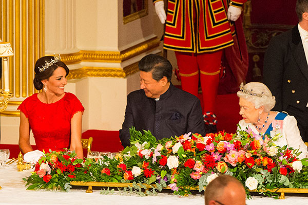 "<div class=""meta image-caption""><div class=""origin-logo origin-image none""><span>none</span></div><span class=""caption-text"">The Duchess of Cambridge, Chinese President Xi Jinping and Britain's Queen Elizabeth II attend a state banquet in Buckingham Palace, London, on Oct. 20, 2015. (Dominic Lipinski/Pool Photo via AP)</span></div>"