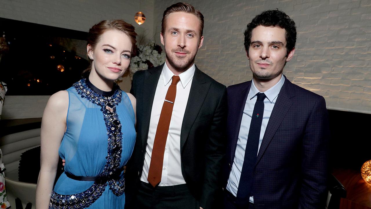 Image of Emma Stone, Ryan Gosling and Damien Chazelle