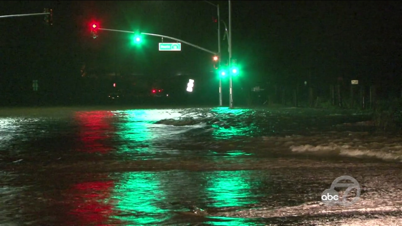 Flooding on Highway 121 in Sonoma County, California, Monday, February 7, 2017.