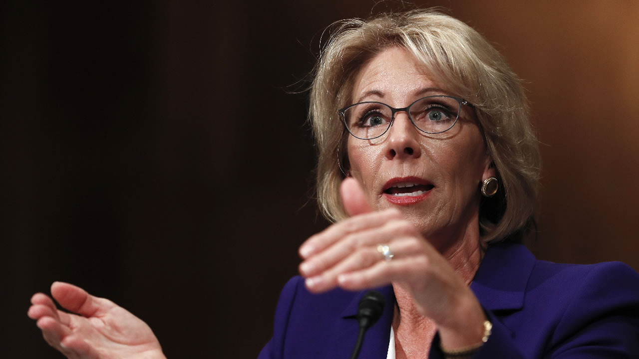 Education Secretary-designate Betsy DeVos testifies on Capitol Hill in Washington, Tuesday, Jan. 17, 2017.