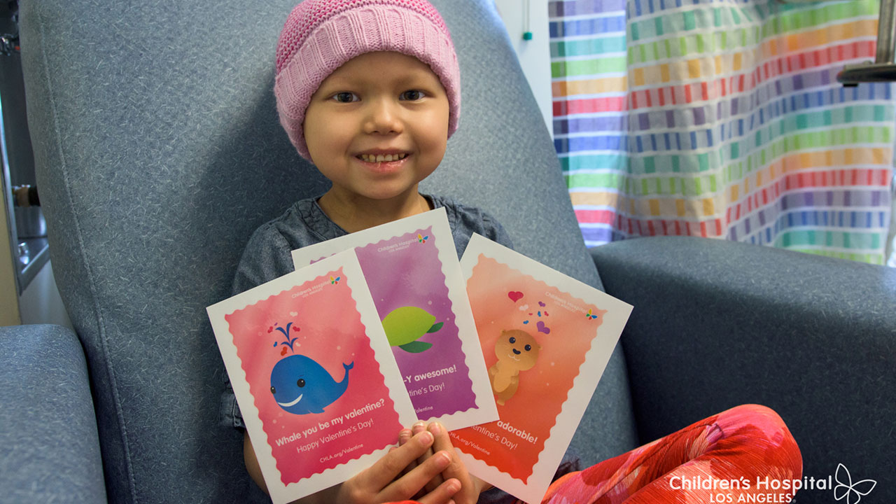 You can help put a smile on a child's face by sending a Valentine's Day card to a patient at Children's Hospital Los Angeles.