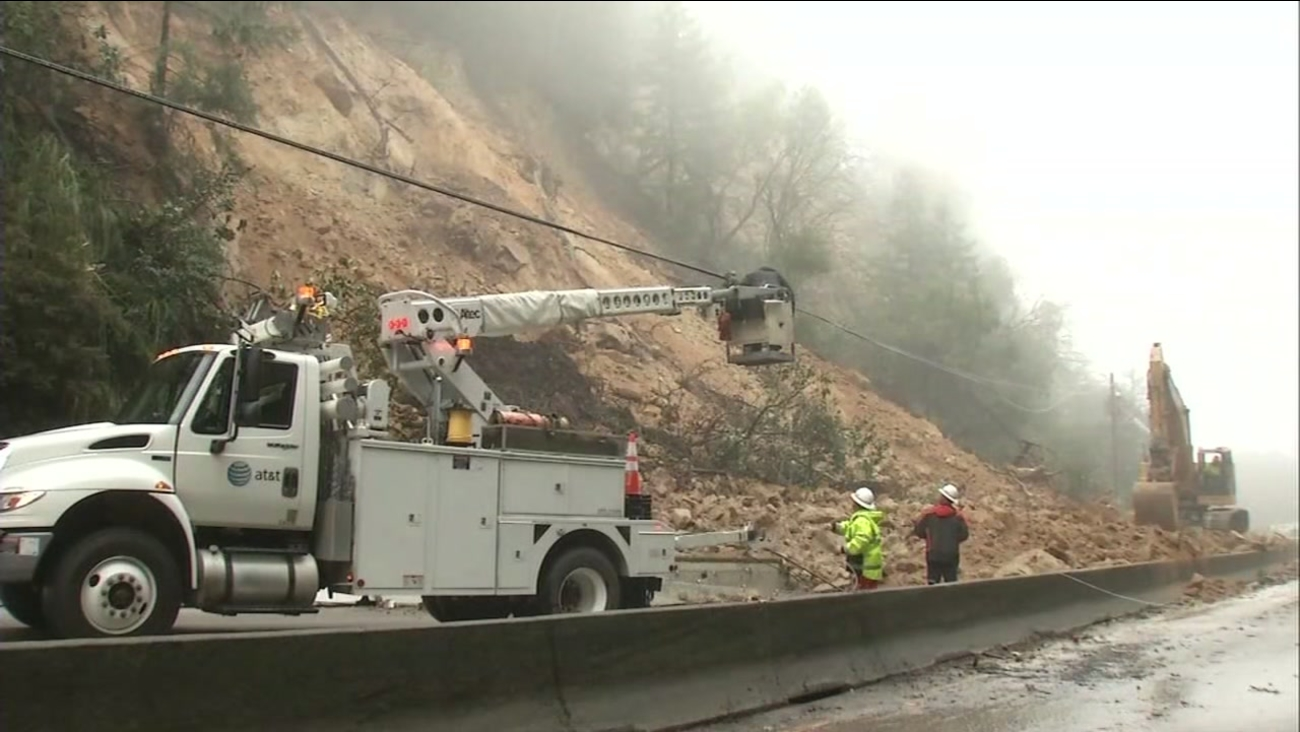 A landslide is seen on Highway 17 near Scotts Valley, Calif. on Tuesday February 7, 2017.