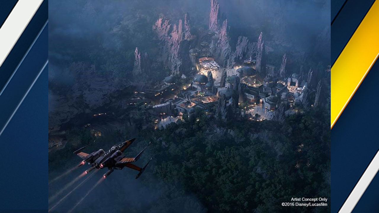 An artist's concept of the planned Star Wars-themed land at Disneyland and Disney World.