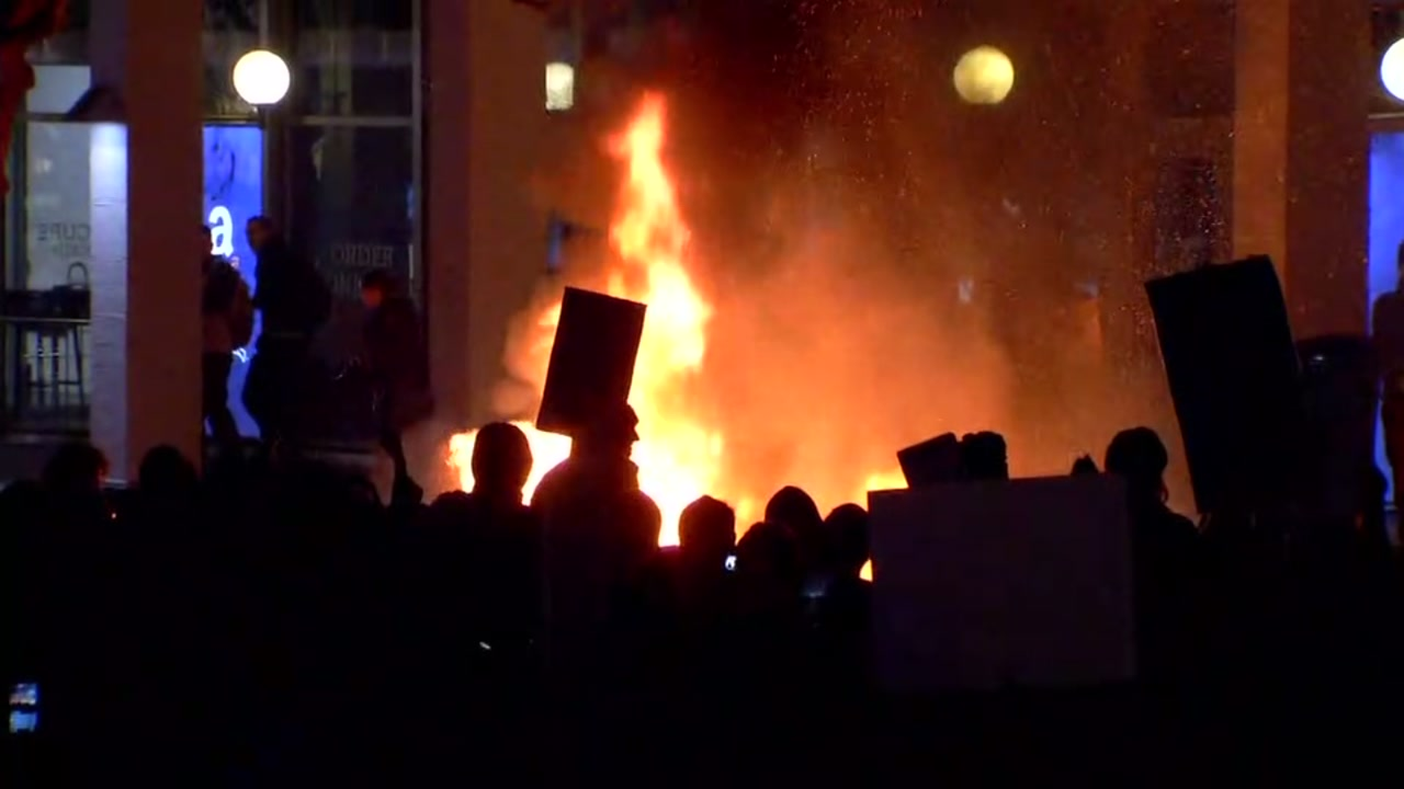 A violent protest over a planned speech by Milo Yiannopoulos is seen in Berkeley, Calif. on Wednesday February 1, 2017.