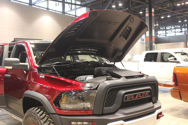 <div class='meta'><div class='origin-logo' data-origin='WLS'></div><span class='caption-text' data-credit=''>Under the hood of the 2017 Dodge Ram Rebel TRX concept on display at the Concept and Technology Garage event at the 2017 Chicago Auto Show on Feb. 8, 2017.</span></div>