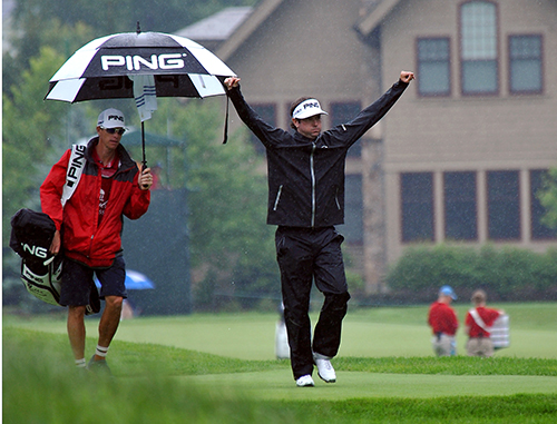 <div class='meta'><div class='origin-logo' data-origin='AP'></div><span class='caption-text' data-credit='AP Photo/Chris Tilley'>Bubba Watson raises his arms in celebration as the heaviest part of the rain starts during the first round of the Greenbrier Classic golf tournament at the Greenbrier Resort.</span></div>