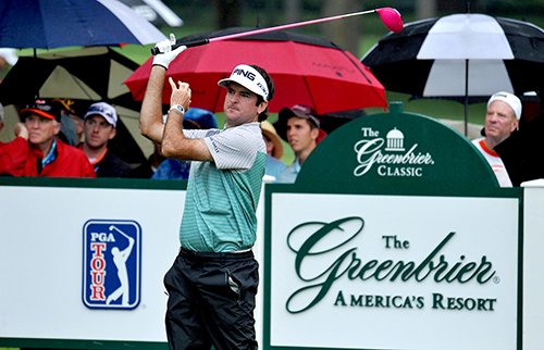 <div class='meta'><div class='origin-logo' data-origin='AP'></div><span class='caption-text' data-credit='AP Photo/Chris Tilley'>Bubba Watson tees off from the eighth tee during the first round of the Greenbrier Classic golf tournament at the Greenbrier Resort in White Sulphur Springs.</span></div>