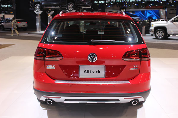 <div class='meta'><div class='origin-logo' data-origin='WLS'></div><span class='caption-text' data-credit=''>Rear view of the 2017 Volkswagen Alltrack Golf on display at the 2017 Chicago Auto Show on Feb. 9, 2017.</span></div>
