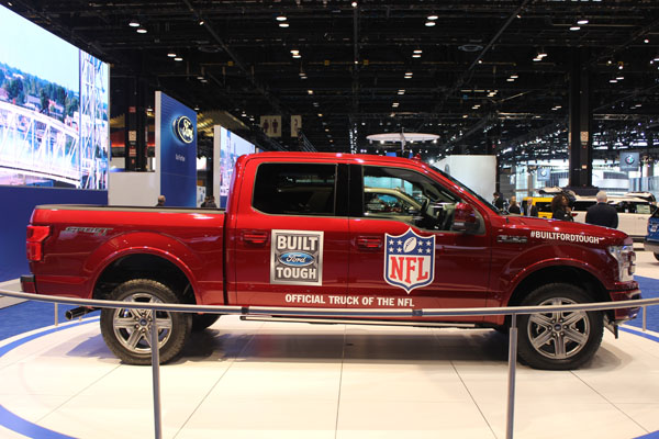 <div class='meta'><div class='origin-logo' data-origin='WLS'></div><span class='caption-text' data-credit=''>The 2018 Ford F-150, which has been named the Official Truck of the NFL, on display at the 2017 Chicago Auto Show on Feb. 9, 2017.</span></div>