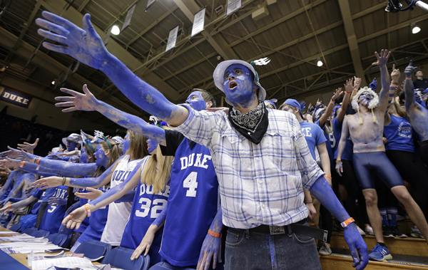 <div class='meta'><div class='origin-logo' data-origin='AP'></div><span class='caption-text' data-credit='Gerry Broome'>Duke fans cheer prior to the team's NCAA college basketball game against North Carolina in Durham.</span></div>