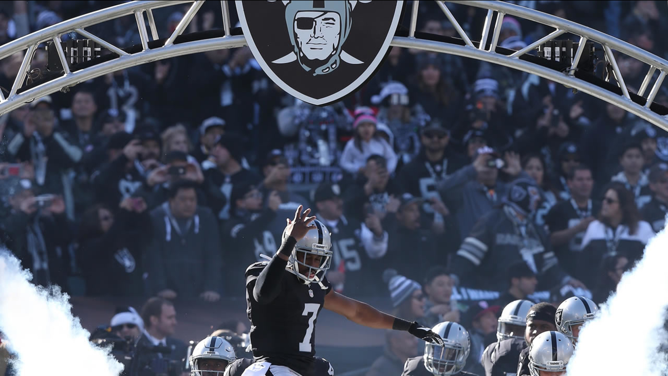 Oakland Raiders punter Marquette King during pre-game introductions at a game on Saturday, Dec. 24, 2016 at the Oakland Coliseum.