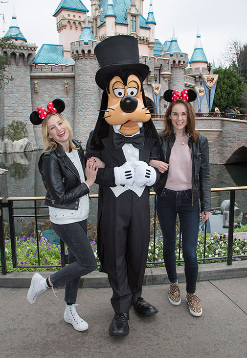 "<div class=""meta image-caption""><div class=""origin-logo origin-image kabc""><span>KABC</span></div><span class=""caption-text"">""Downton Abbey"" stars Michelle Dockery and Laura Carmichael meet Goofy at Sleeping Beauty Castle at Disneyland park in Anaheim, Calif., on Friday, Feb. 10, 2017. (Scott Brinegar/Disneyland Resort)</span></div>"