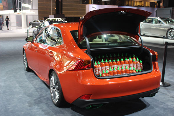 <div class='meta'><div class='origin-logo' data-origin='WLS'></div><span class='caption-text' data-credit=''>The Lexus Sriracha IS - which comes with 43 bottles of the iconic chili sauce in the trunk - on display at the 2017 Chicago Auto Show on Feb. 9, 2017.</span></div>