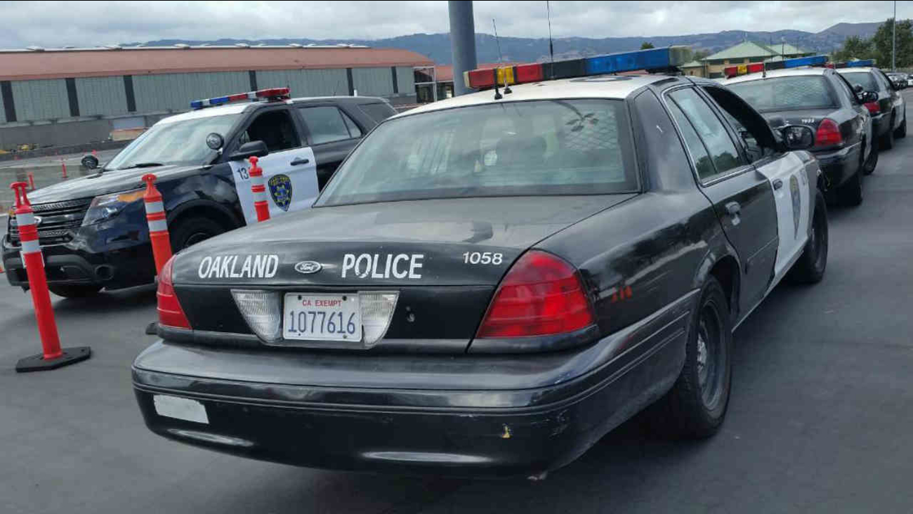 Oakland police vehicles are seen in this undated image.