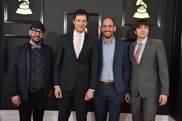 "<div class=""meta image-caption""><div class=""origin-logo origin-image none""><span>none</span></div><span class=""caption-text"">Tim Nordwind, from left Damian Kulash, Dan Konopka, and Andy Ross of the musical group OK Go arrive at the 59th annual Grammy Awards at the Staples Center on Sunday, Feb. 12. (Jordan Strauss/Invision/AP)</span></div>"