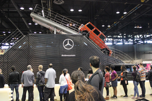 <div class='meta'><div class='origin-logo' data-origin='WLS'></div><span class='caption-text' data-credit=''>The 2017 Mercedes-Benz G-class descends the Iron Schokl test track at the 2017 Chicago Auto Show on Feb. 13, 2017.</span></div>