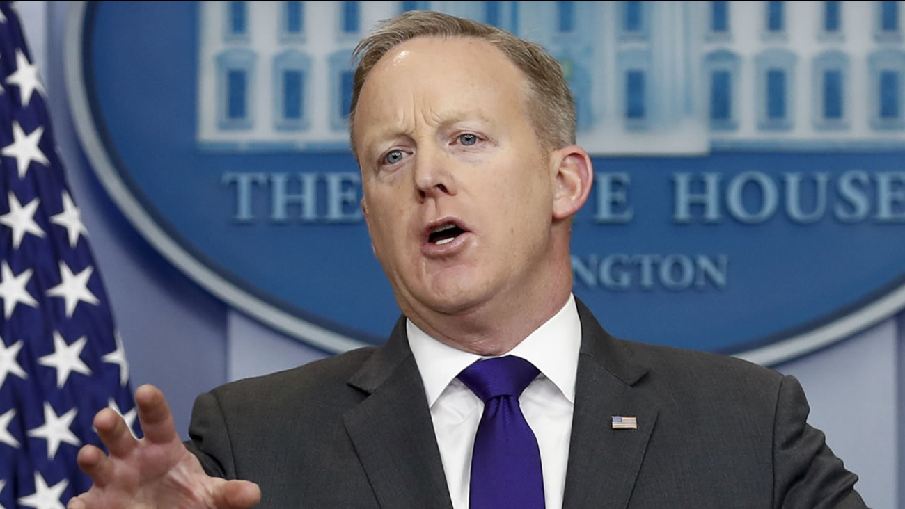 White House press secretary Sean Spicer speaks during the daily news briefing at the White House in Washington, Tuesday, Feb. 7, 2017.