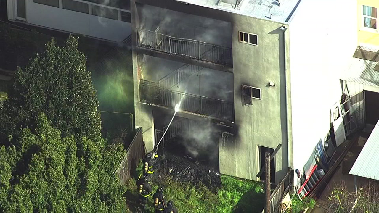 Eleven people were displaced by a fire at their apartment building in San Francisco on Thursday, Feb. 16, 2017.