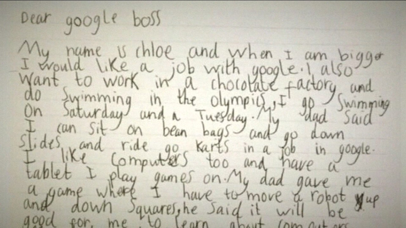 This is an undated image of a letter sent to Google by 7-year-old Chloe of England.