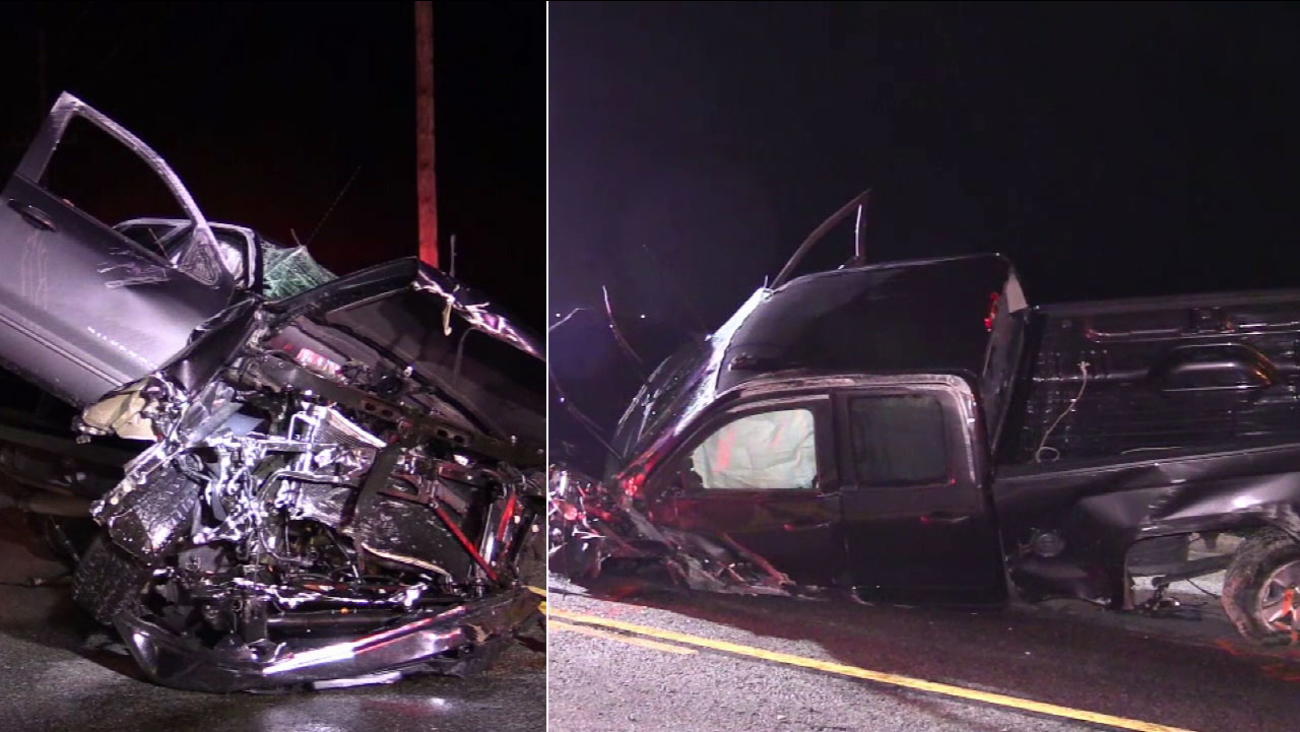 A truck is left mangled following a four-vehicle crash that injured nine people in Lakeview on Sunday, Feb. 19, 2017.