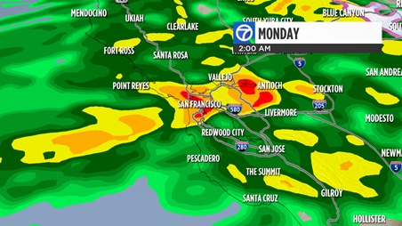Live Doppler 7 radar shows a strong storm coming to the Bay Area on Monday Feb. 20, 2017.