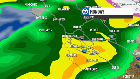 Live Doppler 7 radar shows a strong storm coming to the Bay Area on Monday Feb. 20, 2017 around 4 p.m.