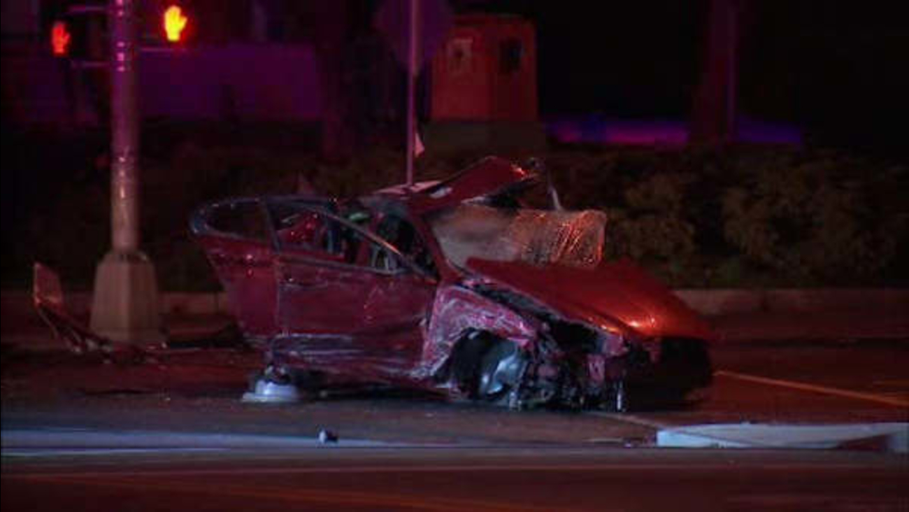 Police pursuit of stolen car ends in fiery head-on crash in