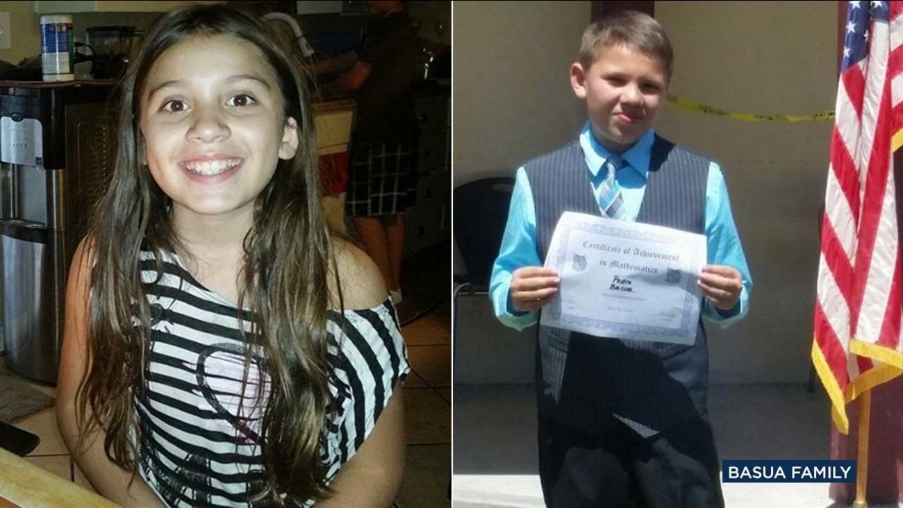 Teresa Basua, 10, and Pedro Basua Jr., 12, are seen in photos provided their family.