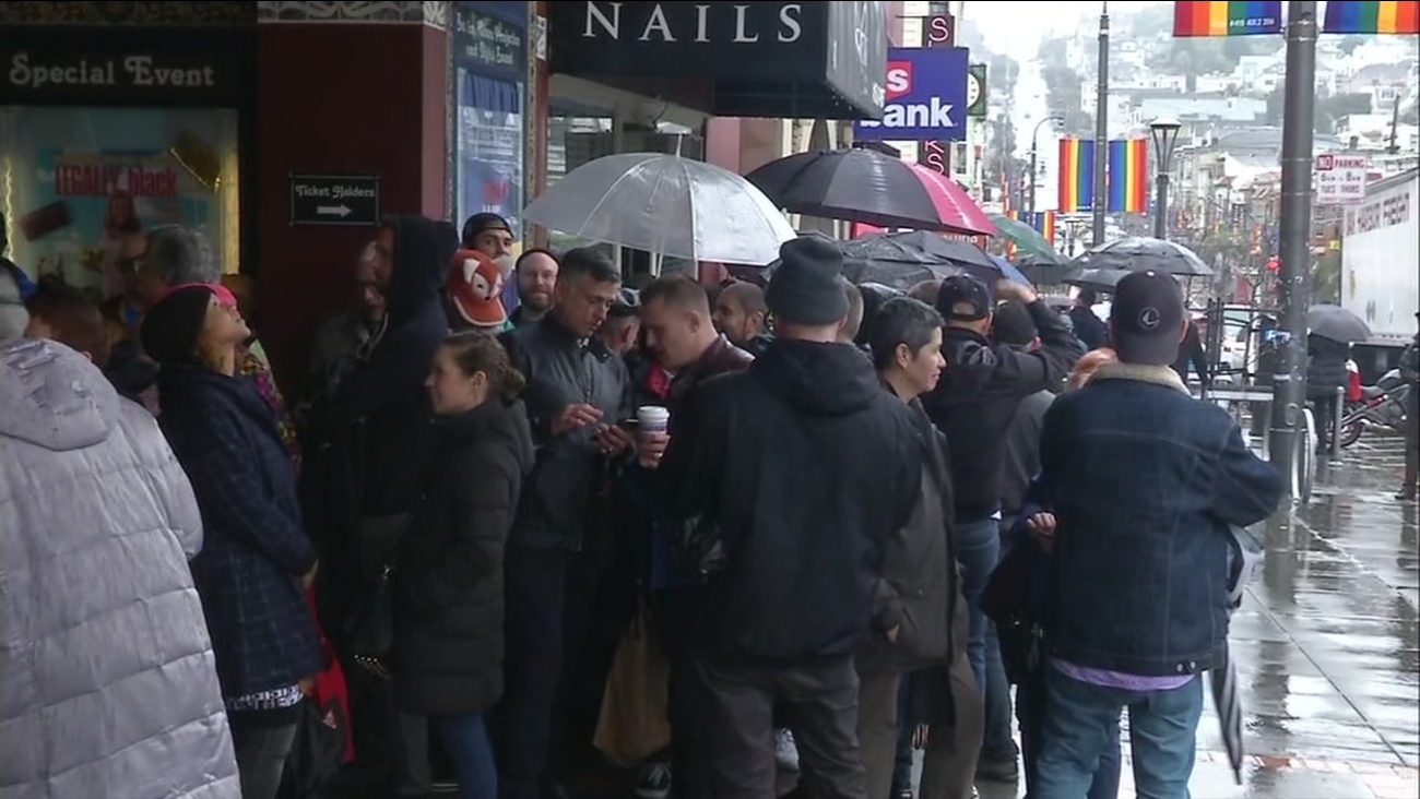 """People wait in line to see an advanced screening of the ABC docu-series """"When We Rise"""" in San Francisco on Feb. 20, 2017."""