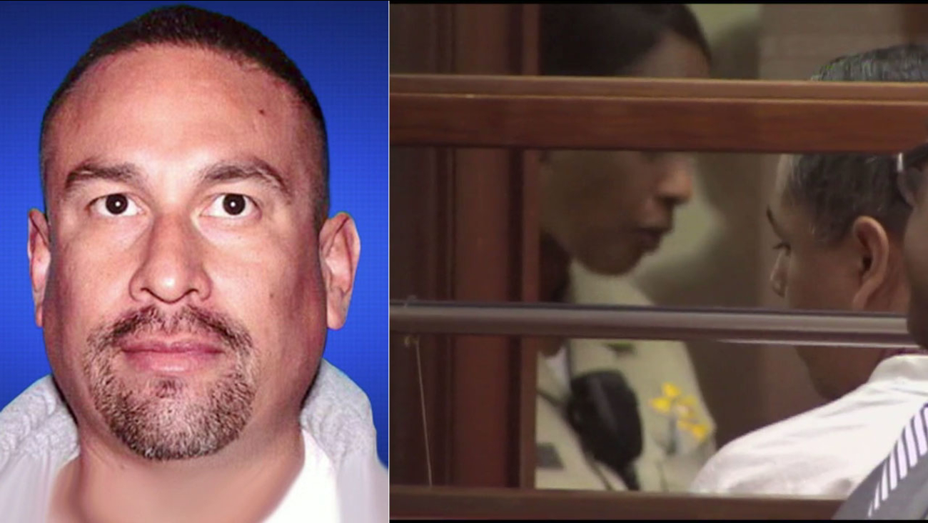 Former Los Angeles sheriff's deputy Francisco Gamez (right), pictured in court in 2012, pleaded no contest to killing Armando Casillas (left).