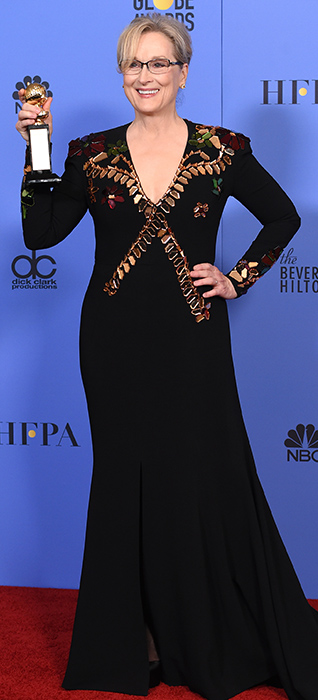 <div class='meta'><div class='origin-logo' data-origin='none'></div><span class='caption-text' data-credit='Jordan Strauss/Invision/AP'>Meryl Streep poses in the press room with the Cecil B. DeMille award at the 74th annual Golden Globe Awards at the Beverly Hilton Hotel on Sunday, Jan. 8, 2017, in Beverly Hills.</span></div>