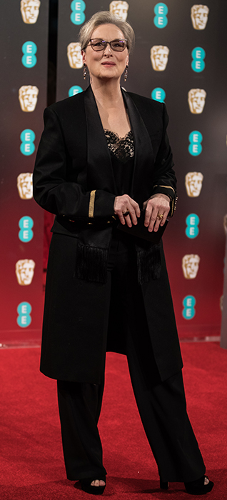 <div class='meta'><div class='origin-logo' data-origin='none'></div><span class='caption-text' data-credit='Vianney Le Caer/Invision/AP'>Meryl Streep poses for photographers upon arrival at the BAFTA Film Awards, in London, Sunday, Feb. 12, 2017.</span></div>